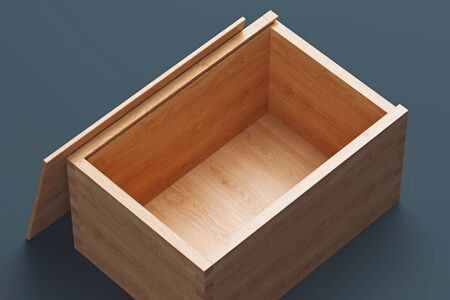 Close up of wooden open box isolated on grey background. 3d rendering.