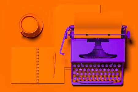Realistic violet typewriter with orange blank paper on orange desk. 3d rendering. Minimalism concept. 스톡 콘텐츠