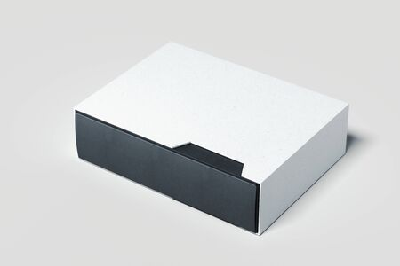 Blank black and white realistic cardboard boxes isolated on white background. 3d rendering.