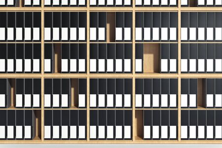 Wooden shelves with blank folders with labels for copy space. 3d rendering. Standard-Bild