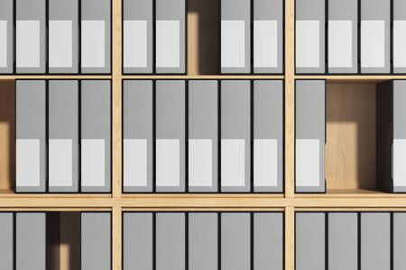 Wooden shelves with blank folders with labels for copy space. 3d rendering.