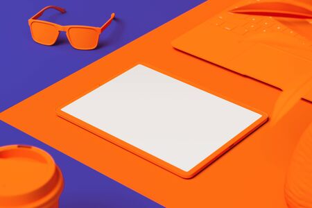 Orange tablet with white blank screen isolated on orange and blue background. 3d rendering. 스톡 콘텐츠