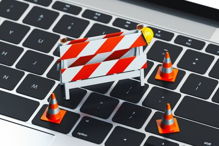 Close up of keyboard and traffic cones and under construction road sign on it. 3d rendering.