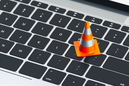 Close up of keyboard and traffic cone on it. 3d rendering.