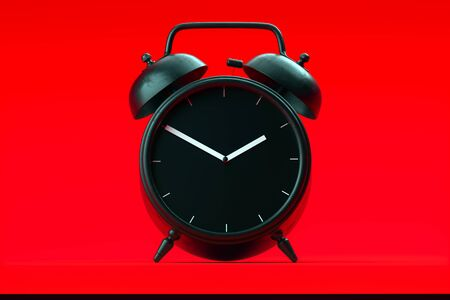 Black realistic alarm clock isolated on red background. 3d rendering.