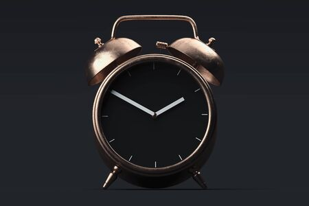 Golden realistic alarm clock isolated on black background. 3d rendering.