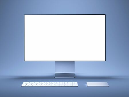 Realistic pc with big white blank monitor, keyboard and computer mouse. 3d rendering.