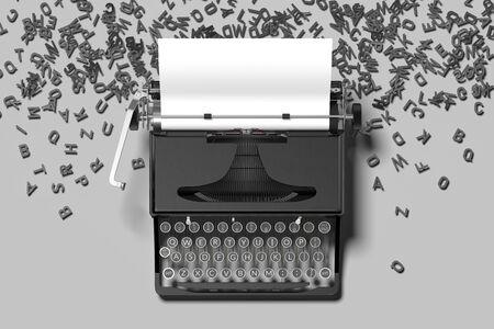 Machine à écrire noire réaliste avec du papier blanc blanc sur fond gris. rendu 3D. Notion de minimalisme.