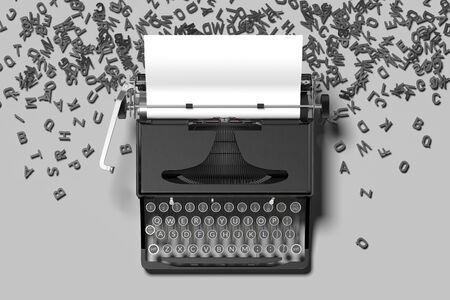 Realistic black typewriter with white blank paper on gray background. 3d rendering. Minimalism concept. Banco de Imagens