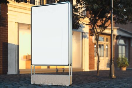 Blank illuminated white outdoor banner stand at evening time in the city, 3d rendering. Side view. 스톡 콘텐츠
