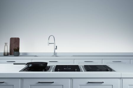 Stylish sink and water faucet tap. Interior of bright modern stylish kitchen. 3d rendering.