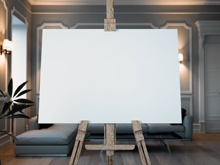 blank easel with white canvas in modern room interior. 3D rendering. Archivio Fotografico