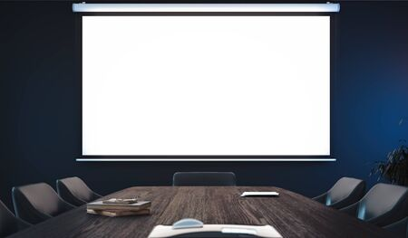 Projector screen canvas in modern conference room. 3d rendering.