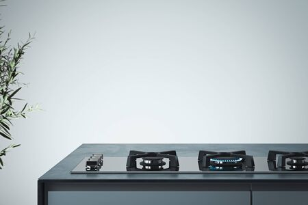Black gas stove with burning blue flame. Interior of bright modern stylish kitchen. 3d rendering.