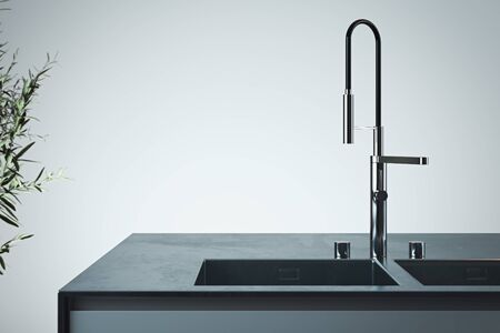 Stylish sink and water faucet tap. Interior of bright modern stylish kitchen. 3d rendering. Minimalism concept. Stock Photo