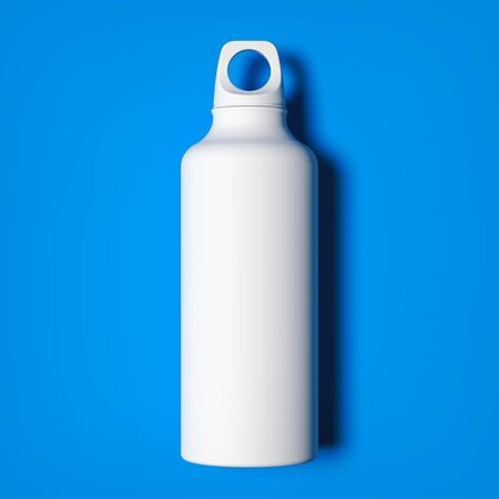 Bottle for water isolated on blue background. 3d rendering. Minimalism. reuse 版權商用圖片