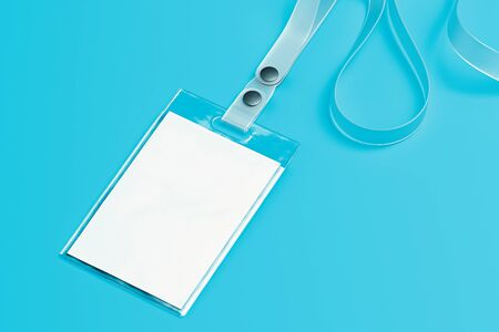 Transparent lanyard and blank white badge isolated on blue background. 3d rendering.