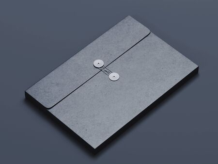 Black cardboard blank folder on Black background. 3d rendering. Minimalism
