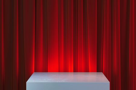 Modern Showcase with empty space on pedestal on red curtains background. 3d rendering. Archivio Fotografico