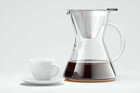 freshly prepared black coffee in pour over coffee maker Alternative ways of brewing coffee. 3d rendering Stock fotó