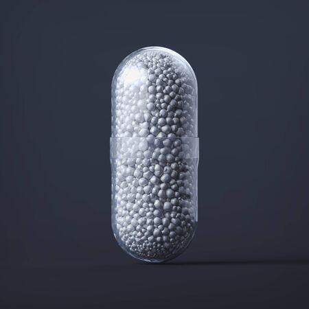 Close up of transparent pill medicine on black background, 3d rendering. Foto de archivo