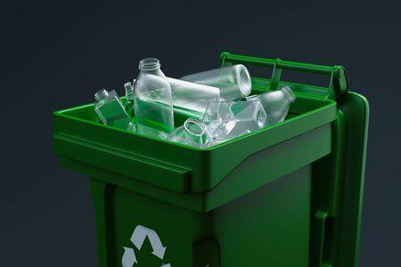 Cestino verde per plastica con simbolo di riciclaggio bianco su sfondo nero. rendering 3d
