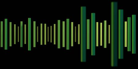 Music abstract background with green dynamic waves. Sound waves template. music equalizer. 3d rendering