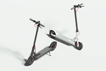 Electric black and white scooters on white background. eco alternative transport concept. 3d rendering. Minimalism.