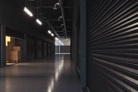 warehouse interior. storehouse. Pallet stacker truck equipment. 3d rendering.