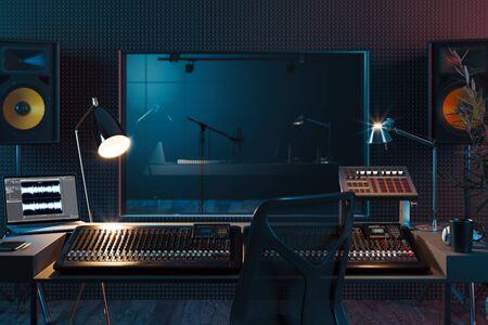 Studio Computer Music Station opgezet. Professionele audiomixer. 3D-rendering.