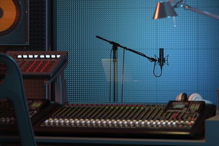 Installation de Studio Computer Music Station. Console de mixage audio professionnelle. rendu 3D.