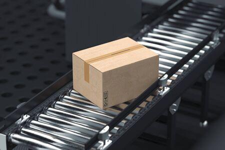 Rodillo transportador con caja de cartón en blanco en fábrica en colores oscuros. Representación 3D. Vista lateral.