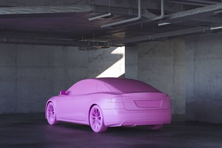 Pink Car model in concrete interior. 3d rendering.