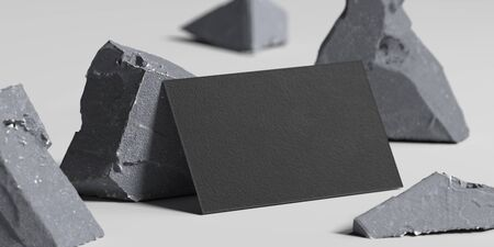 Close up of black blank business card near broken concrete , 3d rendering. Empty space. Copy space.