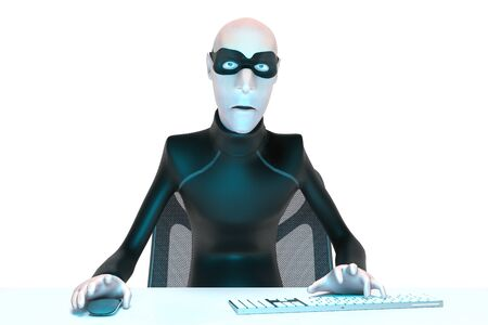 Character Hacker John Scammer in mask using laptop committing theft. cyber attack and internet security. 3d rendering