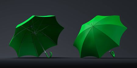 Realistic green umbrellas isolated on dark background. 3d rendering. Copy space. Empty space.