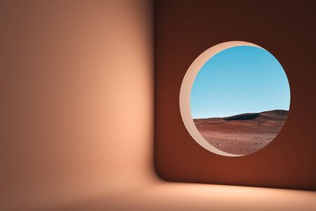 Orange room without furniture and with round window to beautiful view to desert and sands. 3d rendering