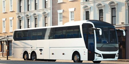 Modern white realistic coach bus at cityscape background. 3d rendering. Front view.