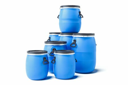 Realistic blue barrels isolated on white background. 3d rendering.