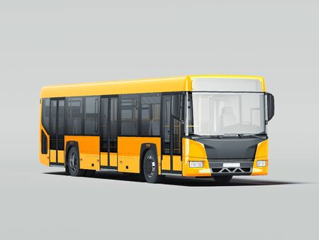 Modern yellow realistic bus isolated on gray background. 3d rendering. Front view. Stockfoto