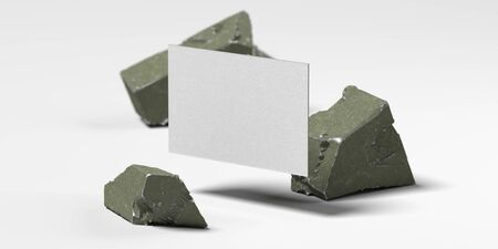 Close up of white levitating blank business card near broken concrete , 3d rendering. Empty space. Copy space.