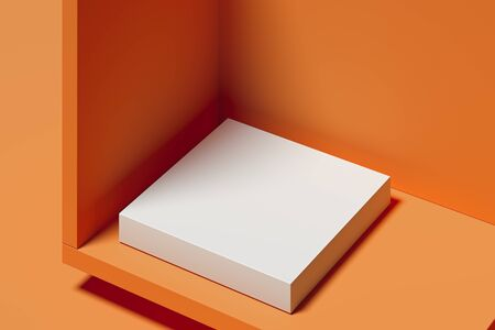 Modern Showcase with empty space on pedestal on orange background. 3d rendering. Minimalism concept Stock fotó