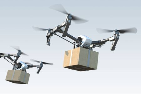 Modern realistic drone quadcopters delivering package to buyer via air. 3d rendering Reklamní fotografie