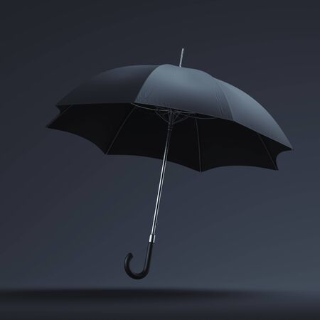 Realistic black umbrella isolated on dark background. 3d rendering. Copy space. Empty space. Zdjęcie Seryjne