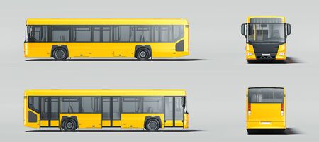Modern yellow realistic buses isolated on gray background. different views. 3d rendering.