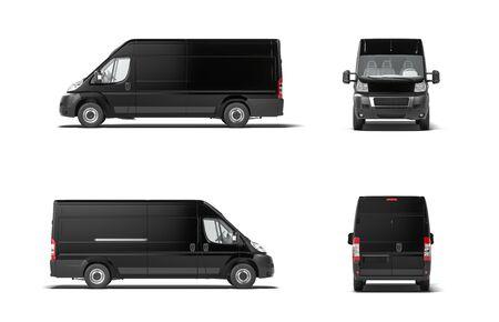 Fourgon de camion de livraison noir moderne sur fond blanc. rendu 3D. Vue de côté. Banque d'images