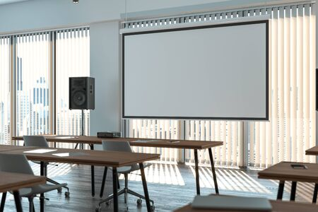 Projector screen canvas in modern conference room with big windows. 3d rendering.