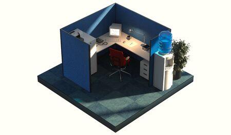 Modern Office design interior room with furniture in cutaway. Office cutaway. 3d rendering. Day time Zdjęcie Seryjne