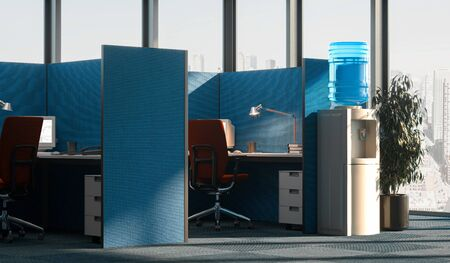 Bright modern office interior with open space in business center with big windows. 3d rendering.