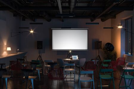 Projector screen canvas in modern cozy cafe. 3d rendering. Front view. Night time